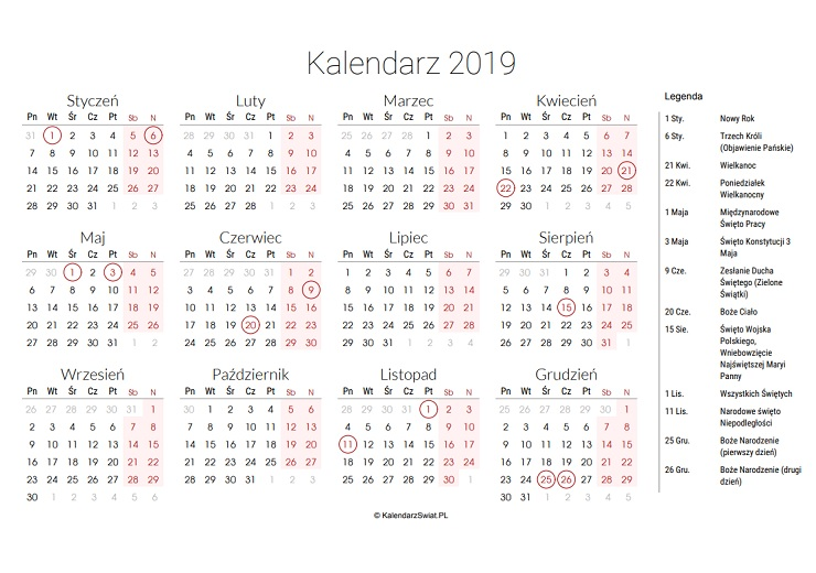 kalendarz2019